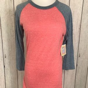 Lularoe Randy Size XS Peach With Gray Sleeves